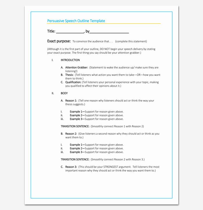 Sample Of A Persuasive Speech Unique Blank Persuasive Speech Outline Template