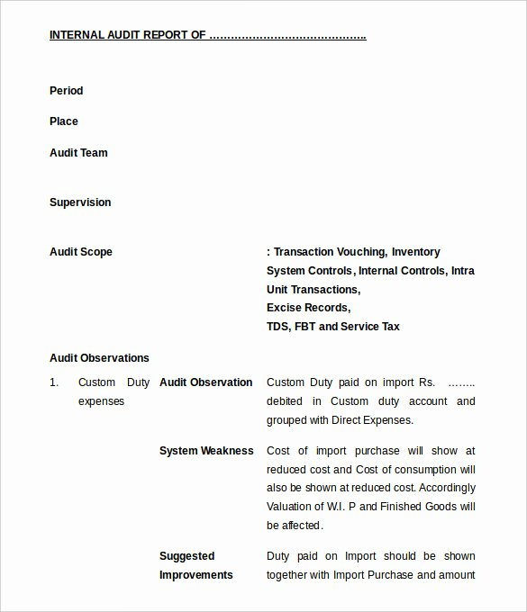 Sample Of Audit Report Best Of 37 Brilliant Audit Report format Examples Thogati