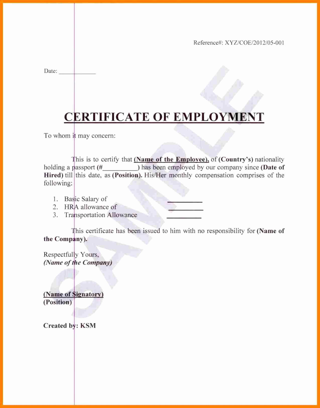 Sample Of Certificate Of Employment Fresh Sample Certification Employment Certificate Tugon Med