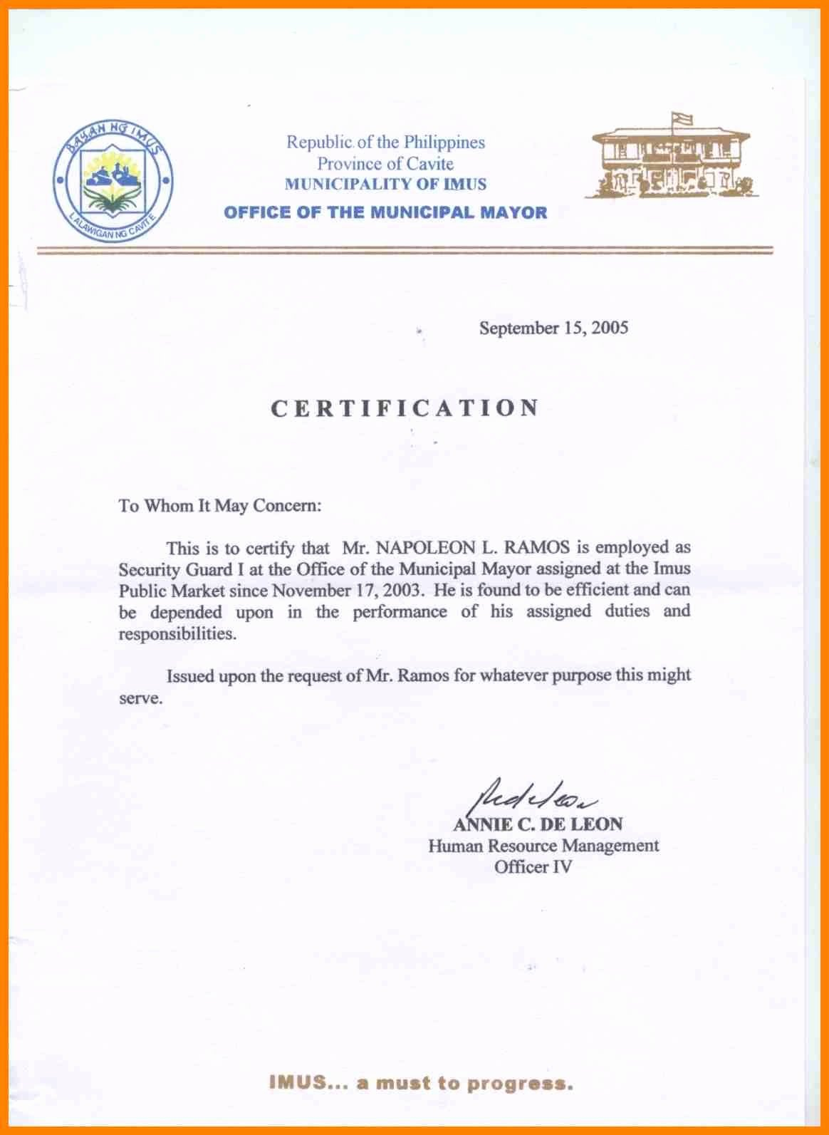 Sample Of Certificate Of Employment Fresh Sample Certification Letter Philippines Certificate
