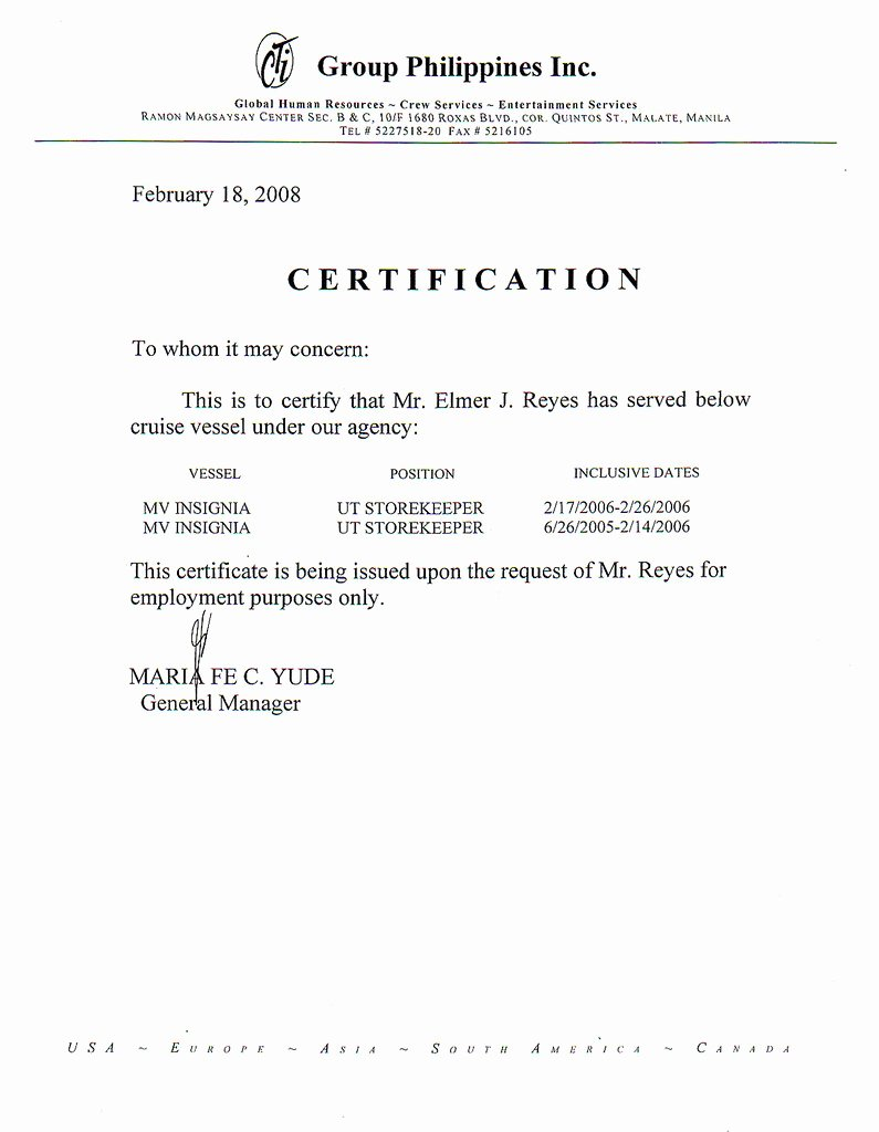 Sample Of Certificate Of Employment Inspirational My Certificate Of Employment and Other Scanned Documents