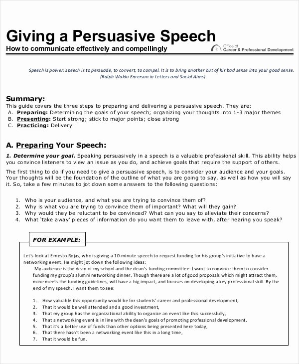 Sample Of Persuasive Speech Awesome Examples Of Persuasive Speeches Pdf
