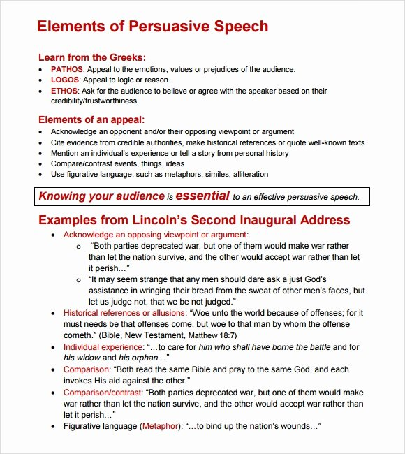 Sample Of Persuasive Speech Awesome Sample Persuasive Speech 7 Documents In Pdf