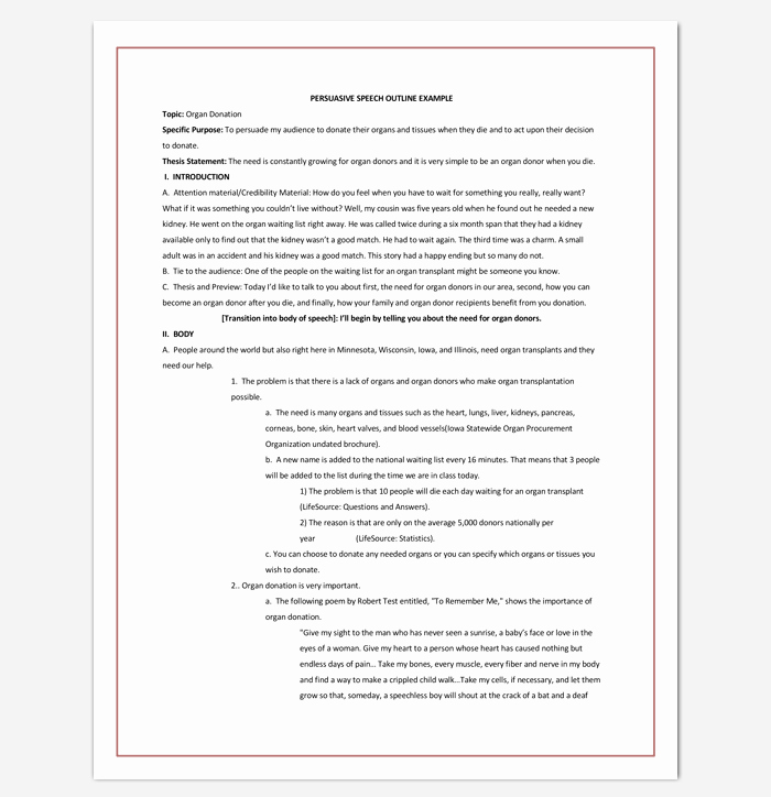 Sample Of Persuasive Speech Fresh Persuasive Speech Outline Template 15 Examples Samples