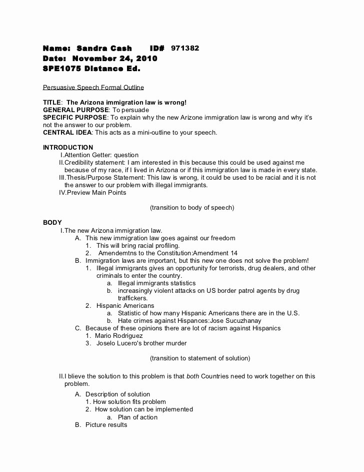 Sample Of Persuasive Speech Inspirational Persuasive Speech formal Outline