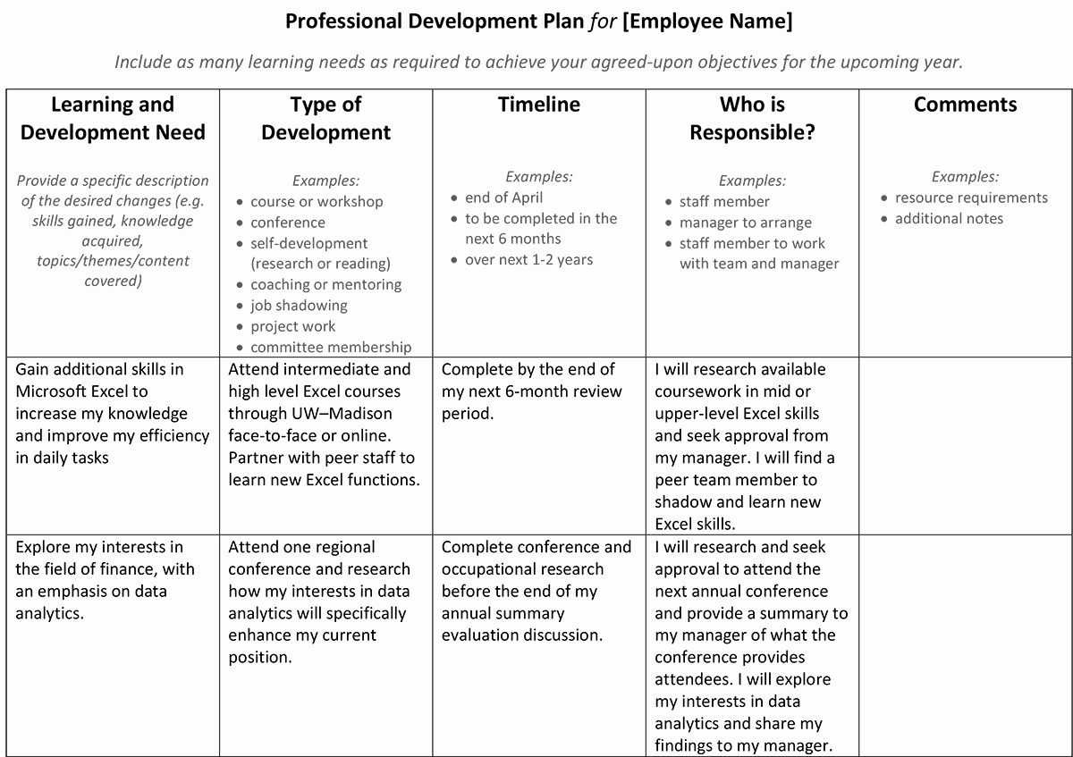 Sample Of Professional Development Plan Awesome Setting Career Goals – Professional Development – Uw–madison
