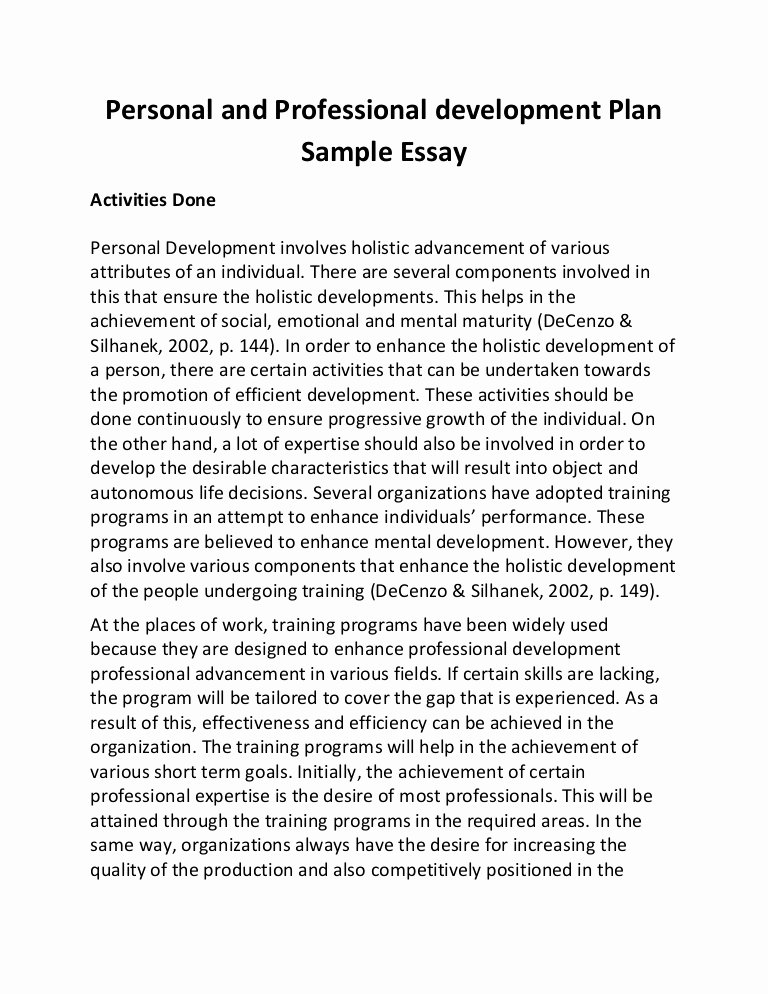 Sample Of Professional Development Plan Best Of Personal and Professional Development Plan Sample Essay