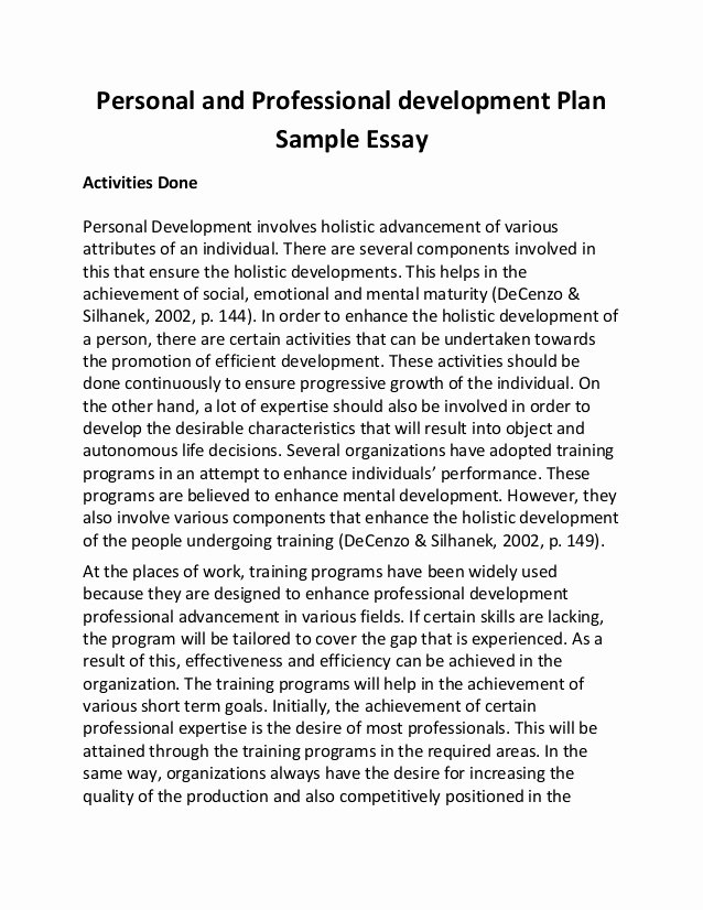 Sample Of Professional Development Plan Elegant Personal and Professional Development Plan Sample Essay