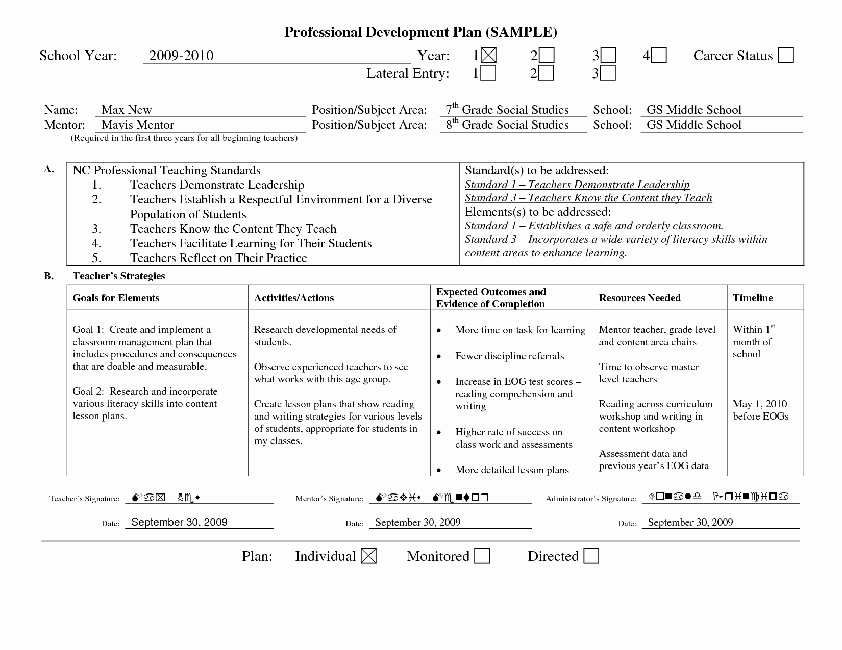 Sample Of Professional Development Plan New Professional Learning Plan Examples Google Search