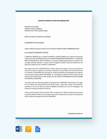 Sample Of Support Letter for Immigration Elegant 12 Affidavit Samples Doc Pdf