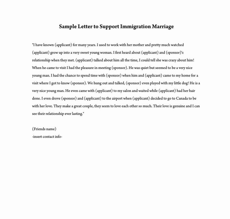 Sample Of Support Letter for Immigration Elegant Reference Letter to Support Immigration Marriage Samples