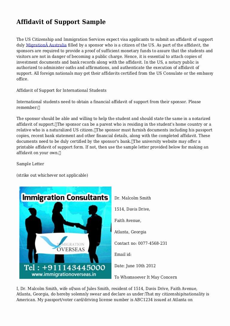 Sample Of Support Letter for Immigration Fresh Affidavit Of Support Sample
