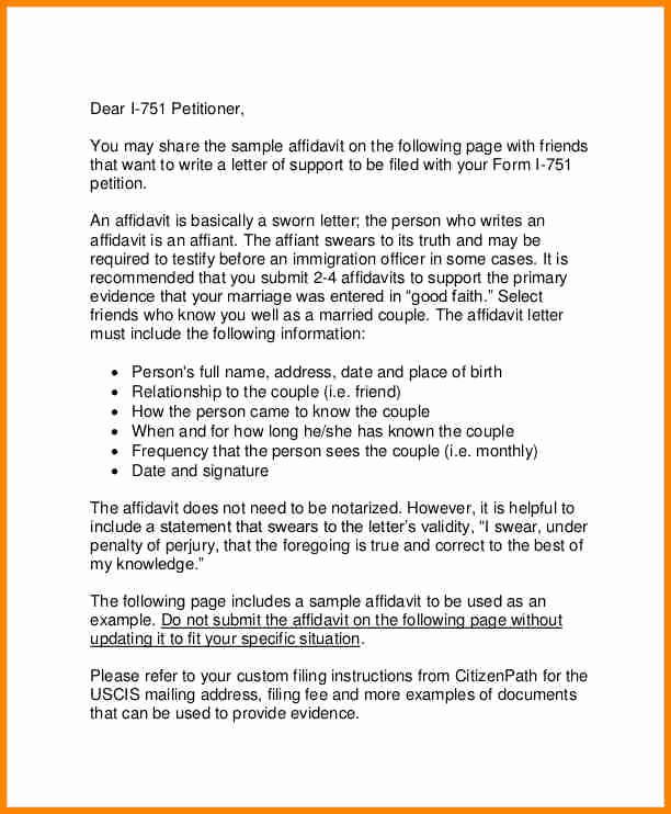 Sample Of Support Letter for Immigration Inspirational 11 Example Of Affidavit Letter for Immigration