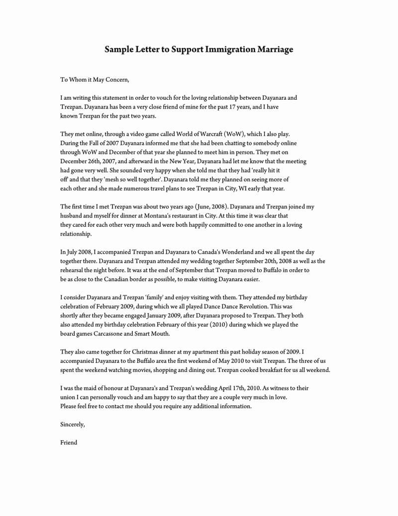 Sample Of Support Letter for Immigration Luxury Reference Letter to Support Immigration Marriage Samples