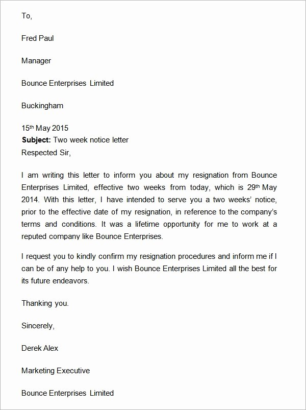 Sample Of Two Weeks Notice Letter Awesome Two Weeks Notice Letter 12 Download Free Documents In Word