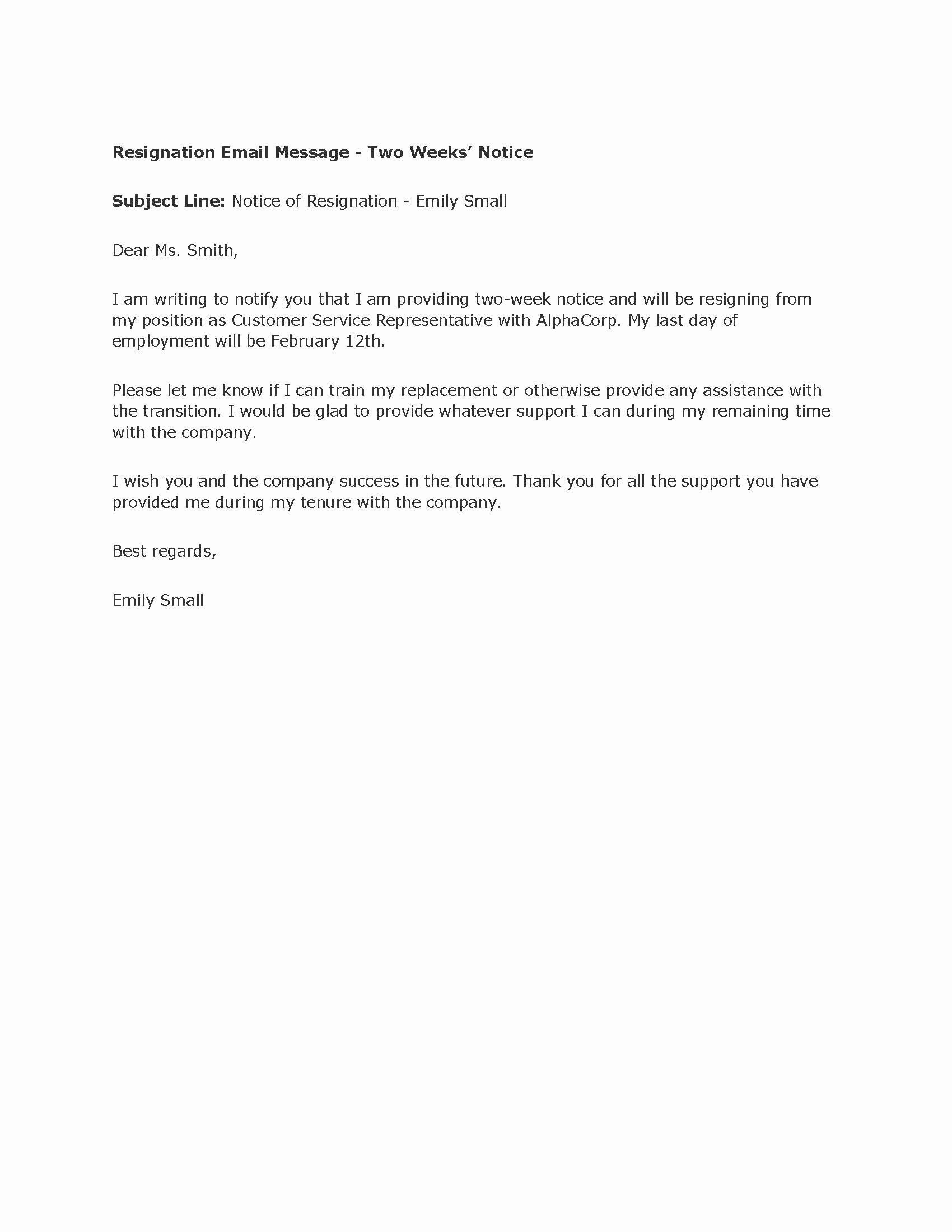 Sample Of Two Weeks Notice Letter Beautiful Professional Two Weeks Notice Letter Templates