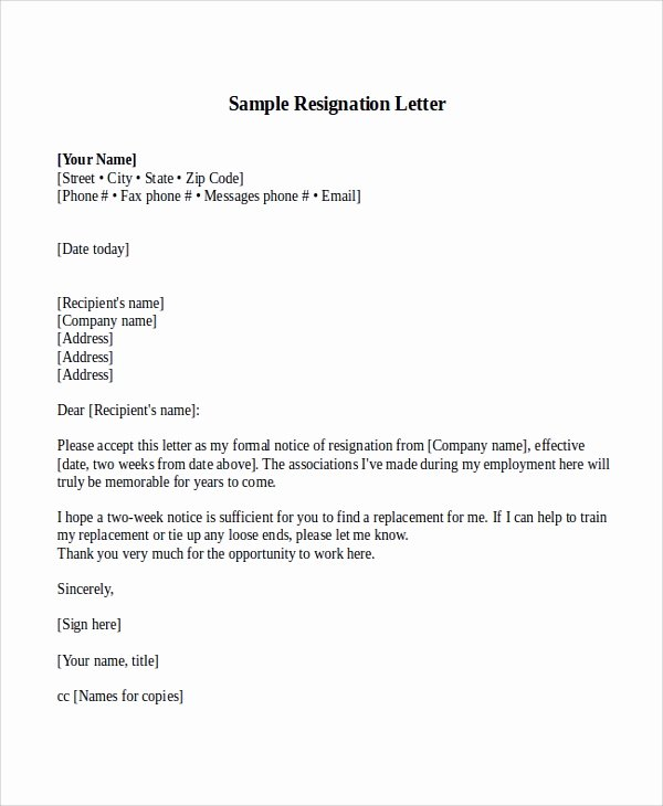 Sample Of Two Weeks Notice Letter Elegant Sample Resignation Letter with 2 Week Notice 6 Examples