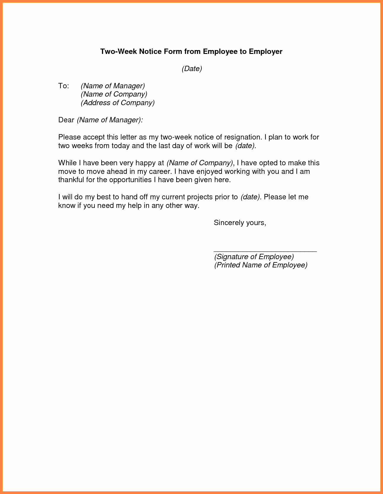 Sample Of Two Weeks Notice Letter Inspirational 9 Sample 2 Weeks Notice to Employer