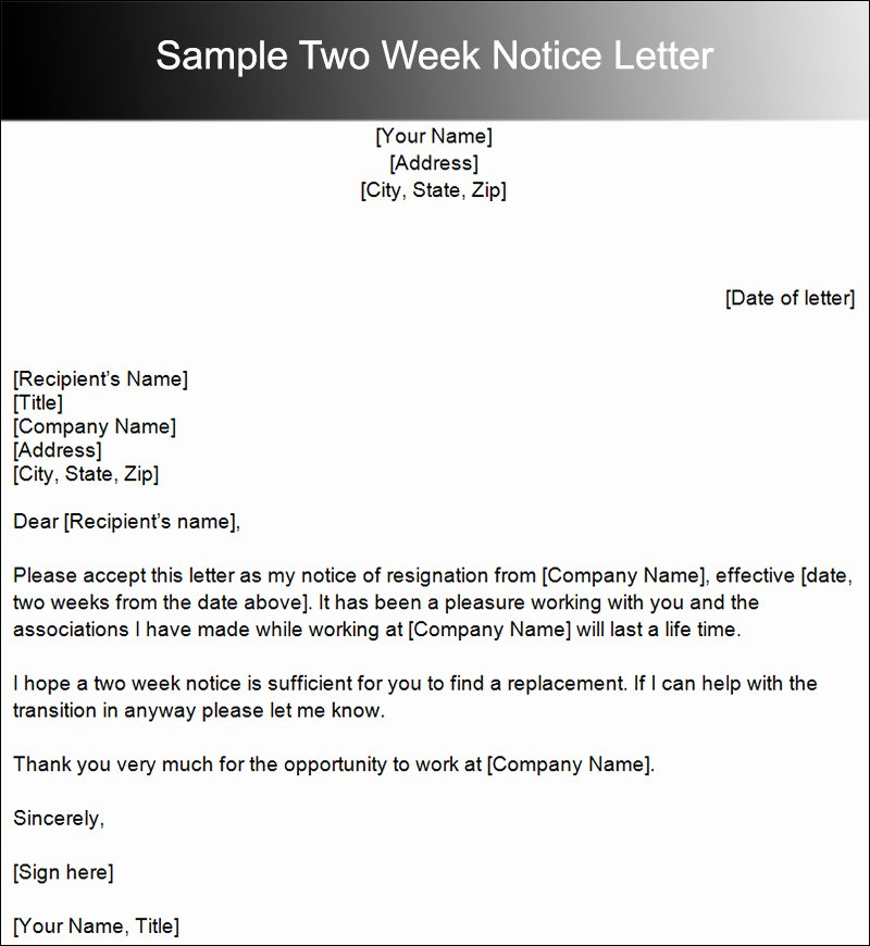 Sample Of Two Weeks Notice Letter Lovely Two Weeks Notice Letter Template