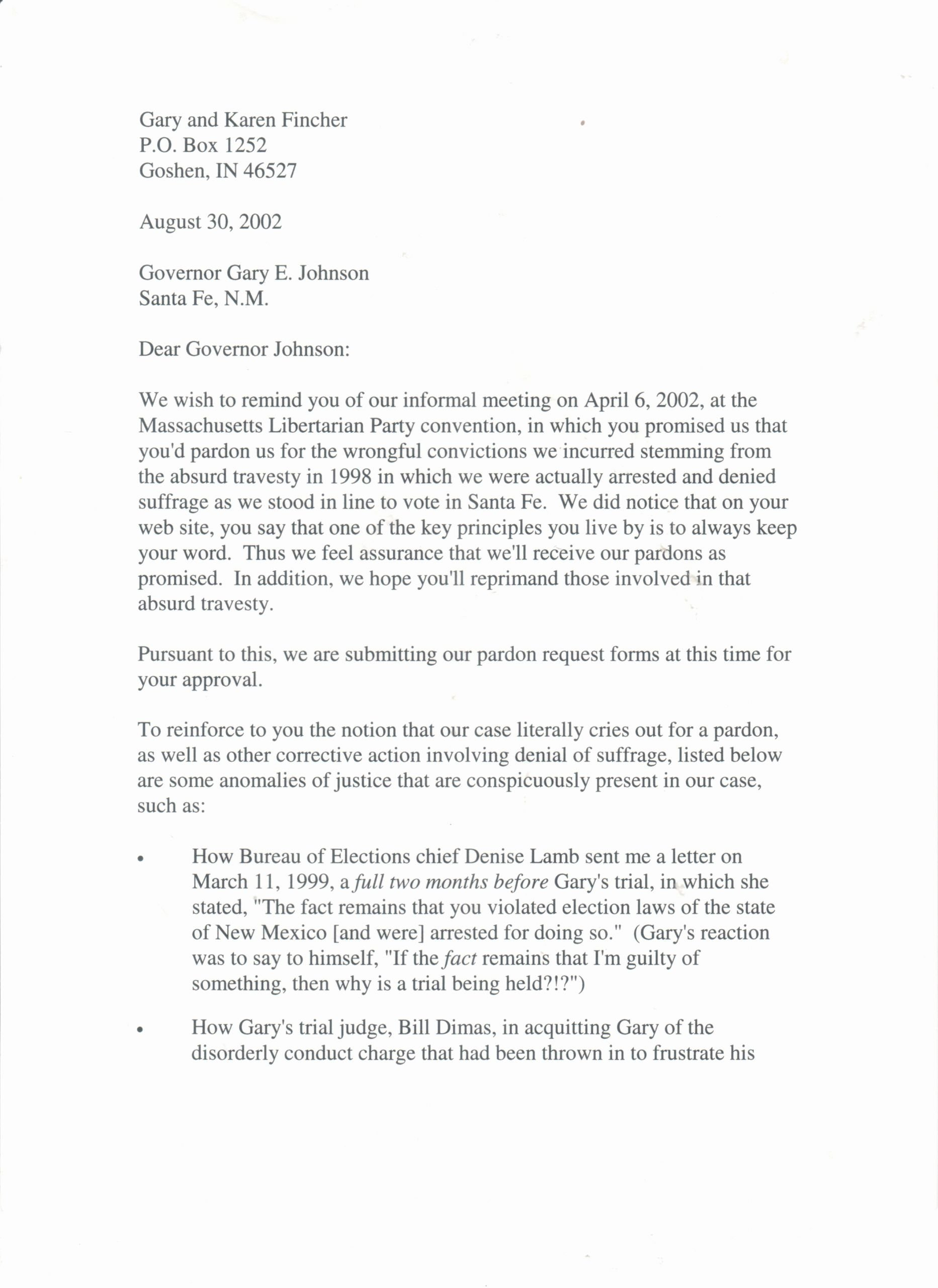 Sample Pardon Letter Inspirational Gop Presidential Hopeful Gary Johnson A Core Trust issue