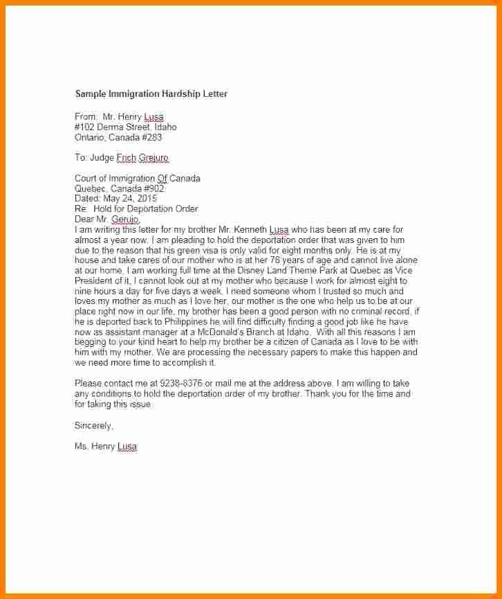 Sample Pardon Letters Fresh 11 Immigration Pardon Letter Sample