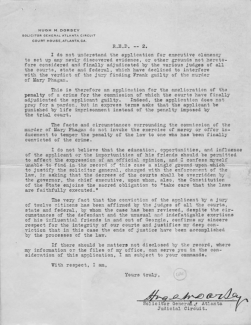 Sample Pardon Letters New Leo Frank Clemency