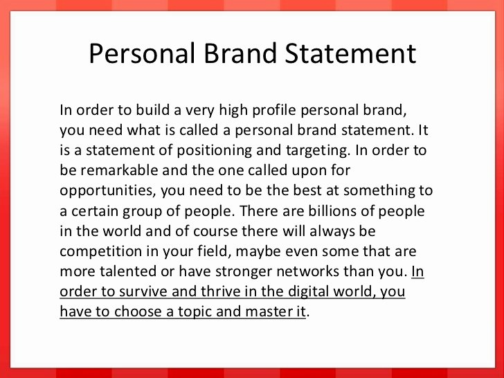 Sample Personal Branding Statements Fresh Developing Your Personal Brand
