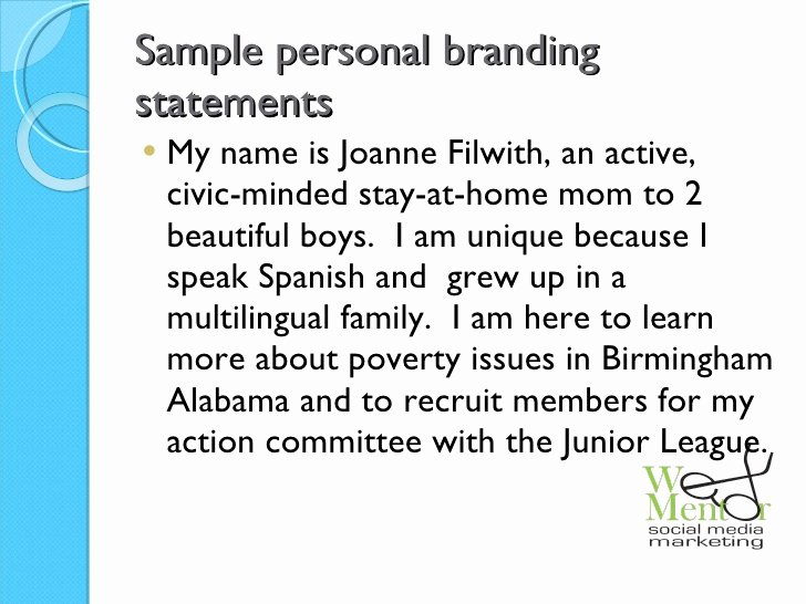 Sample Personal Branding Statements Luxury the Working Woman S Guide to Line Branding