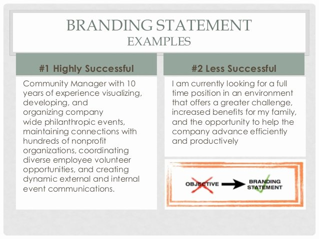 Sample Personal Branding Statements Unique Personal Branding and Your Resume 1 7 16 Final