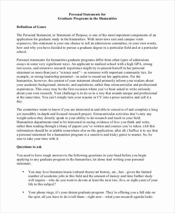 Sample Personal History Statement Graduate School Elegant Personal Statement Cv Help Application Letter for English