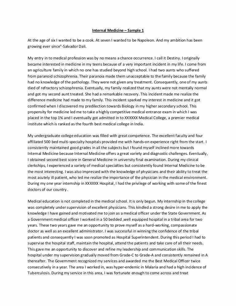 Sample Personal History Statement Graduate School Lovely Internal Medicine Personal Statement