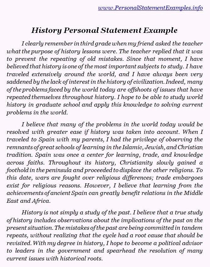 Sample Personal History Statement Graduate School New Best History Personal Statement Examples