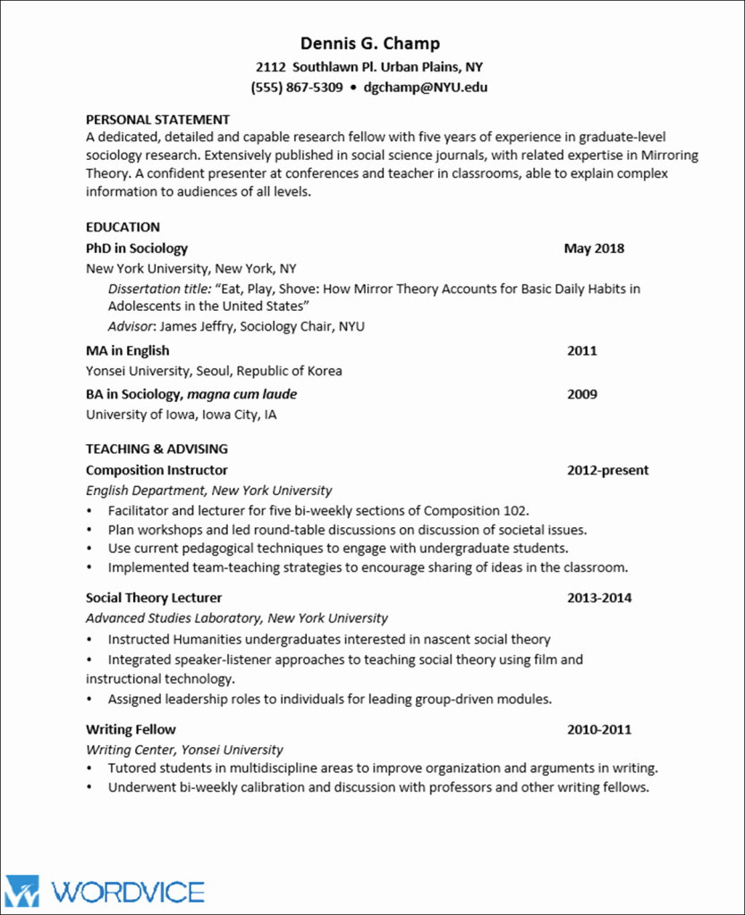 Sample Personal History Statement Graduate School New Sample Graduate Cv for Academic and Research Positions