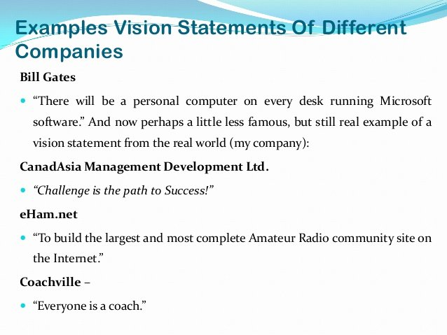 Sample Personal Vision Statement Awesome Vision Statement Examples Alisen Berde