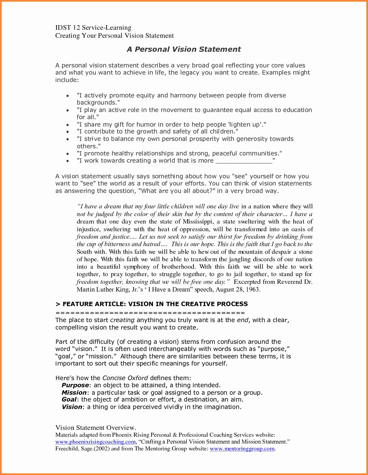 Sample Personal Vision Statement Unique 10 Personal Vision Statement Template