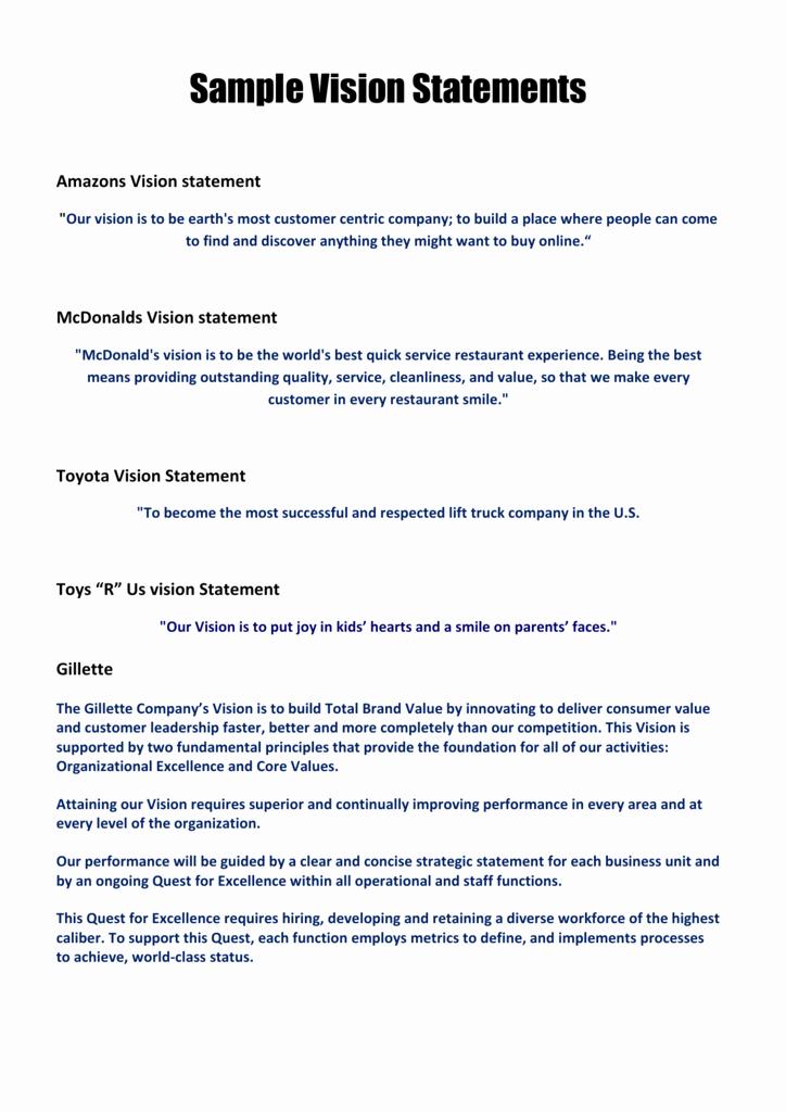 Sample Personal Vision Statement Unique Sample Vision Statements Members area Builders Profits