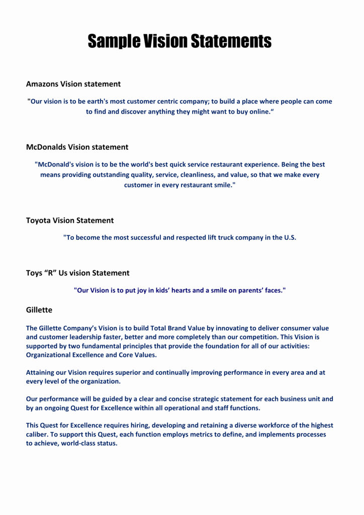 Sample Personal Vision Statements Awesome Sample Vision Statements Members area Builders Profits
