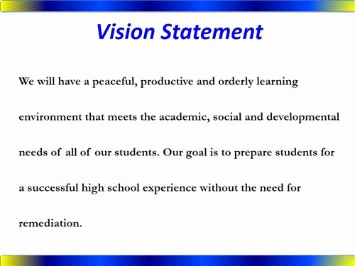 Sample Personal Vision Statements Fresh King Middle School Overview