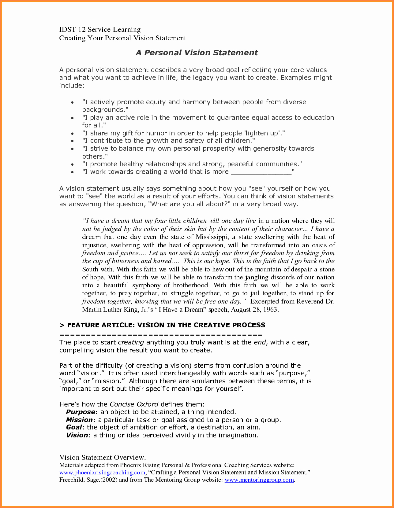 Sample Personal Vision Statements New 10 Personal Vision Statement Template