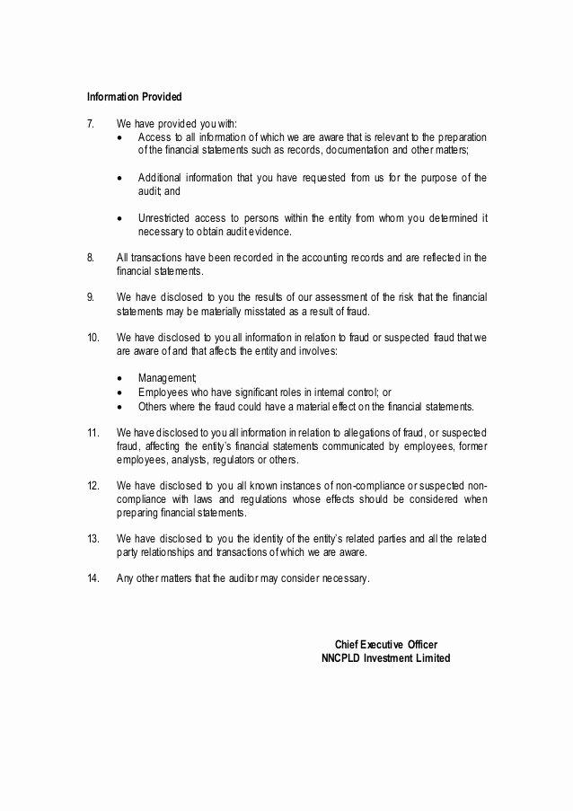 Sample Representation Letter Inspirational Management Representation Letter Sample Public Limited