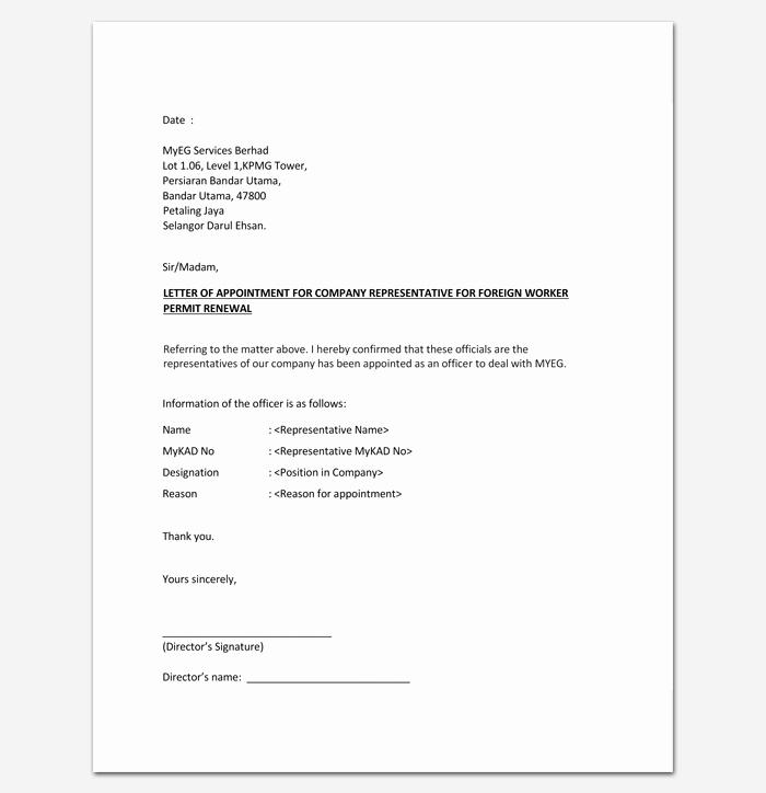 Sample Representation Letter Lovely Appointment Letter for Pany Representative 1