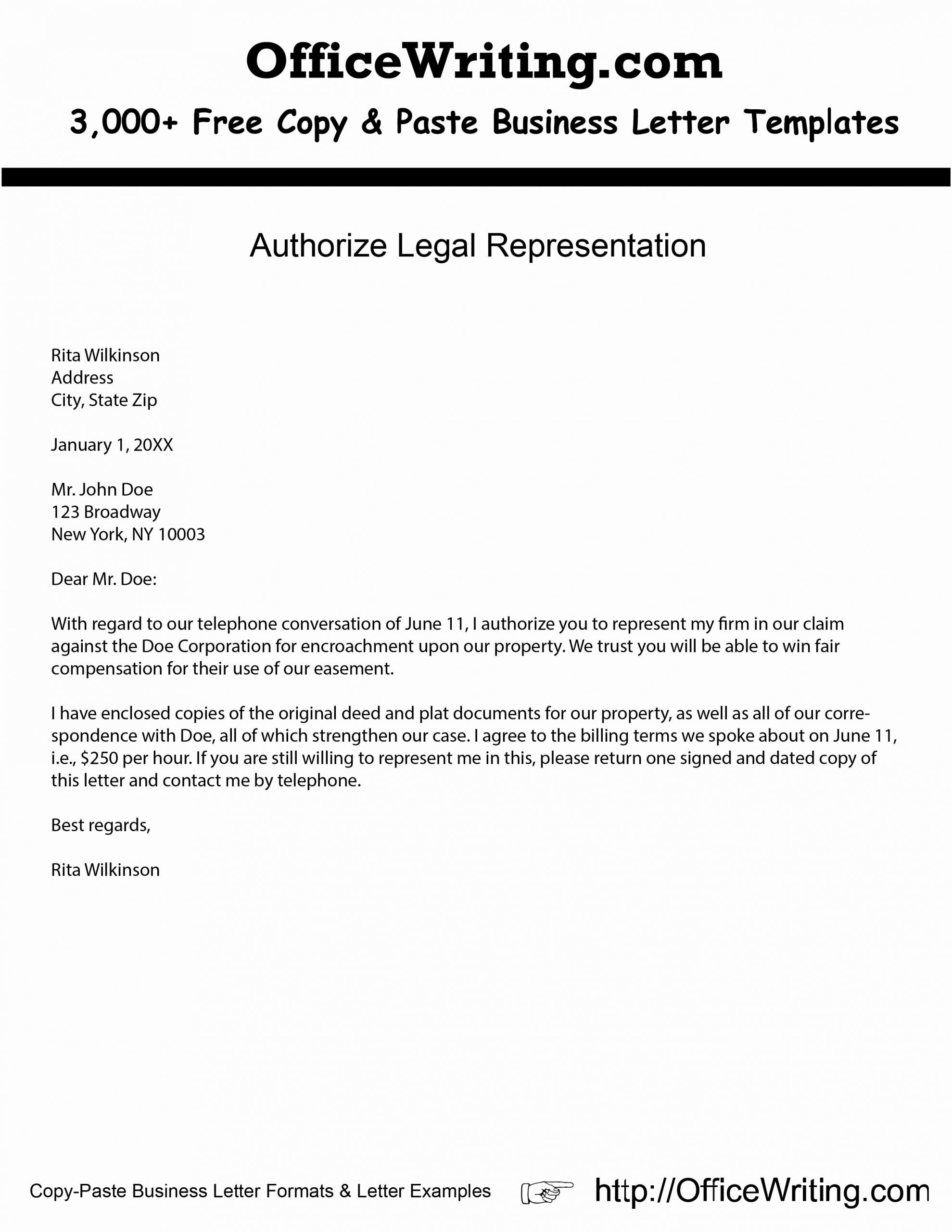 Sample Representation Letter Lovely Authorize Legal Representation Download Free Business