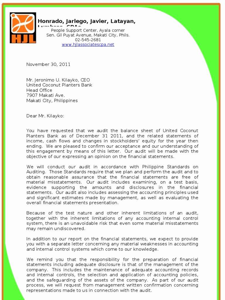 Sample Representation Letter New Audit Engagement Letter & Management Representation Letter