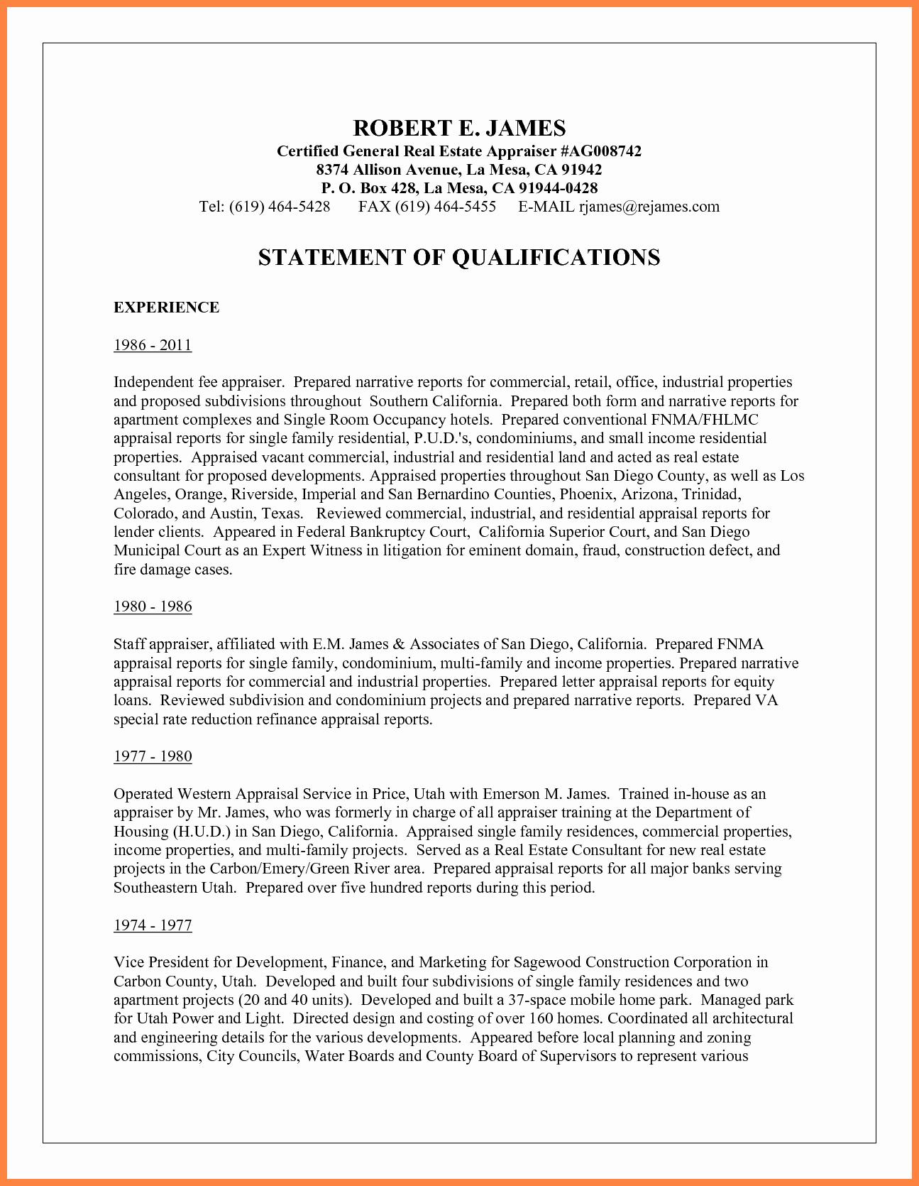 Sample Statement Of Qualification Elegant 10 Sample Statement Of Qualifications