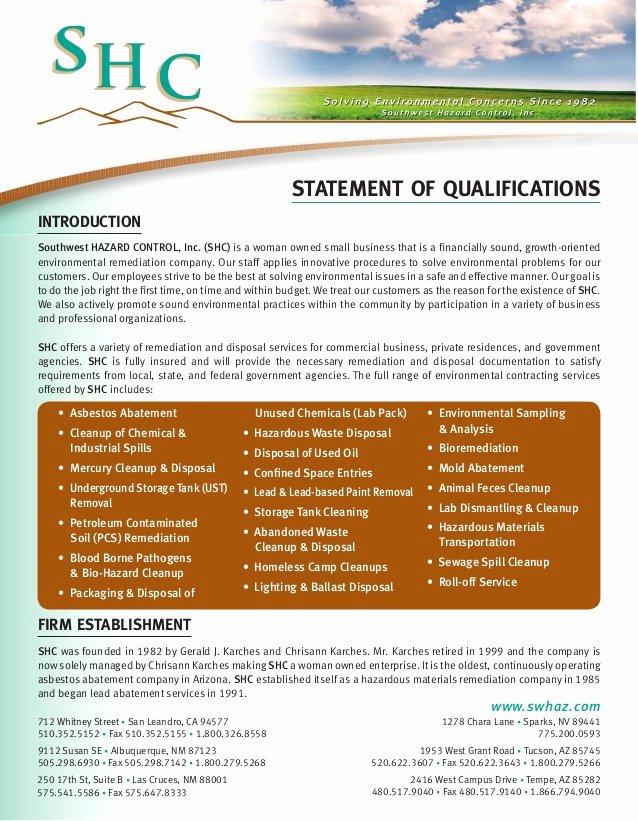 Sample Statement Of Qualification Fresh Shc Statement Qualifications asbestos