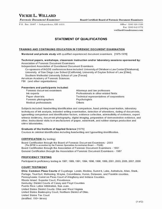 Sample Statement Of Qualification Inspirational Personal Statement Qualifications Template How to