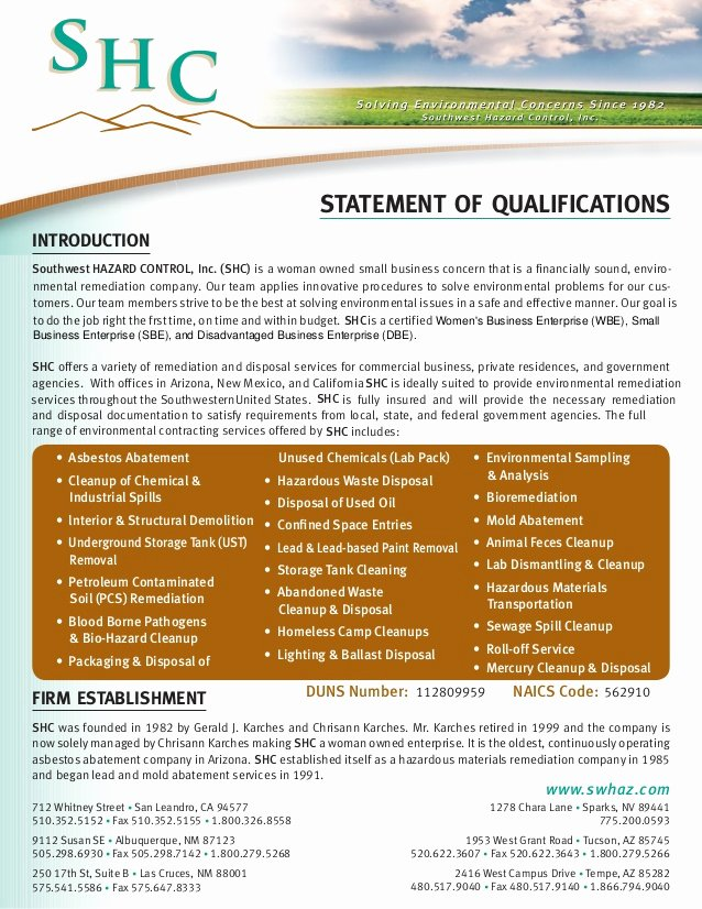 Sample Statement Of Qualification Lovely Shc Latest Statement Qualifications