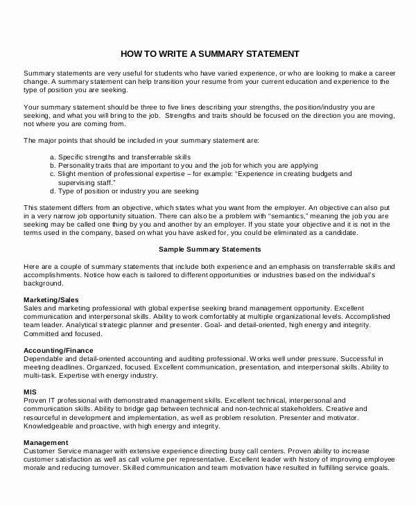 Sample Summary Statements New 9 Career Summary Examples Pdf