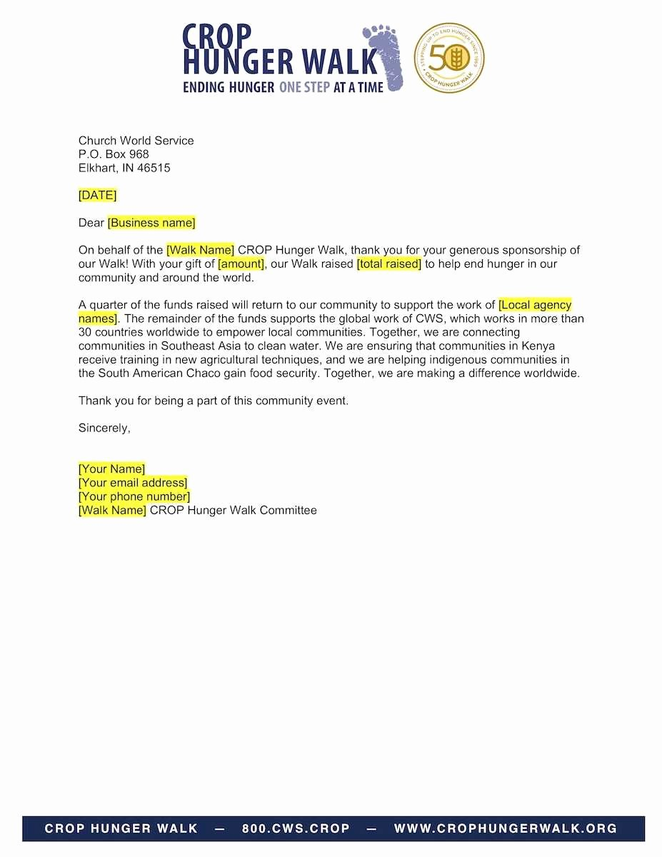 Sample Thank You Letter for Sponsorship Fresh Business Sponsorship Thank You Letter Crop Hunger Walk