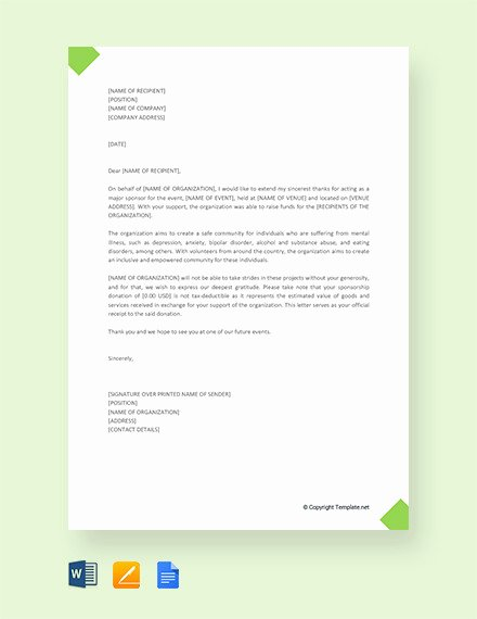 Sample Thank You Letter for Sponsorship Luxury 11 Sample Thank You Letter for Donation Doc Pdf